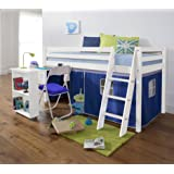 Noa and Nani - Midsleeper Cabin Bed with Desk and Blue Tent - (White)