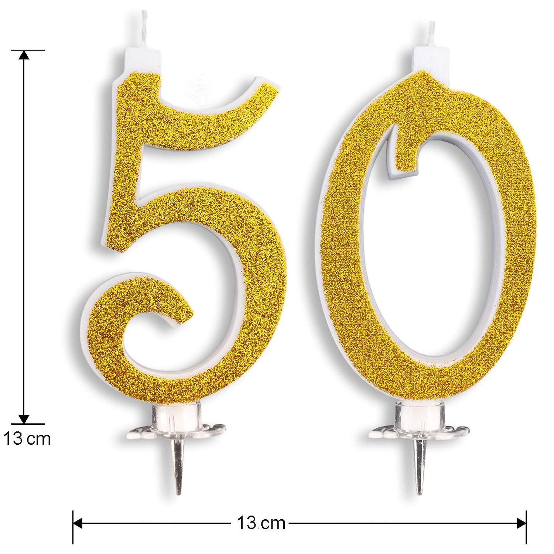 Velas Maxi de 50 años para Tarta, Fiesta, cumpleaños, Boda, 50 años, decoración, Velas de cumpleaños, Tarta 50, Fiesta temática, Altura 13 cm, Oro ...