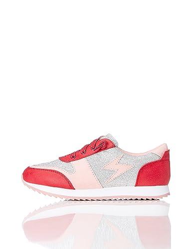 RED WAGON Mädchen Glitzer Sneaker, Rot (Red/Silver), 25.5 EU
