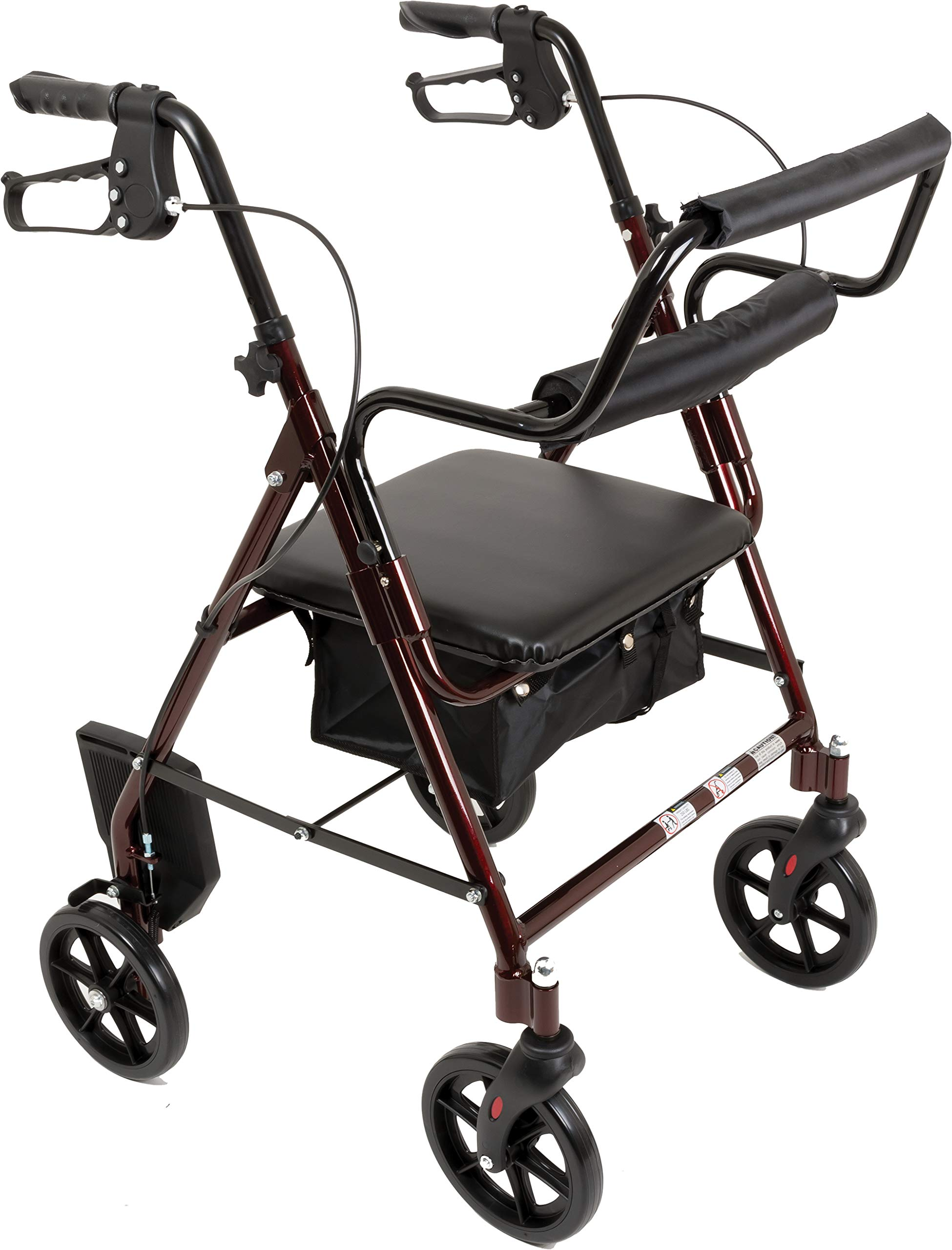Transport Rollator with Padded Seat, Fold Up Seat, 8 Inch Wheels, Weight Capacity: 250 Pounds (Burgundy) by ProBasic