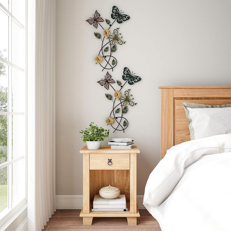 Lavish Home Garden Metal Wall Art Hand Painted 3D Butterflies//Flowers for Modern Farmhouse Rustic Home or Office Decor