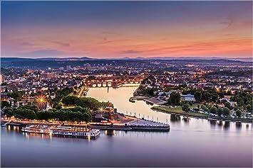 Xxl Echtes Glasbild Koblenz Am Deutsches Eck Fineart Bild Als