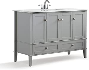 SIMPLIHOME Chelsea 48 inch Contemporary Bath Vanity in Smoke Grey with White Engineered Quartz Marble Top with Storage, 2 drawers and 2 shelves, for the Bathroom, Contemporary