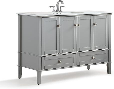 Simpli Home Chelsea 48 Inch Bath Vanity With White Quartz Marble