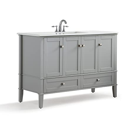 Simpli Home Chelsea Inch Bath Vanity With White Quartz Marble Top - 48 inch grey bathroom vanity