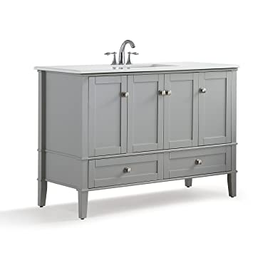 Simpli Home Chelsea 48 Inch Bath Vanity With White Quartz Marble Top, Grey