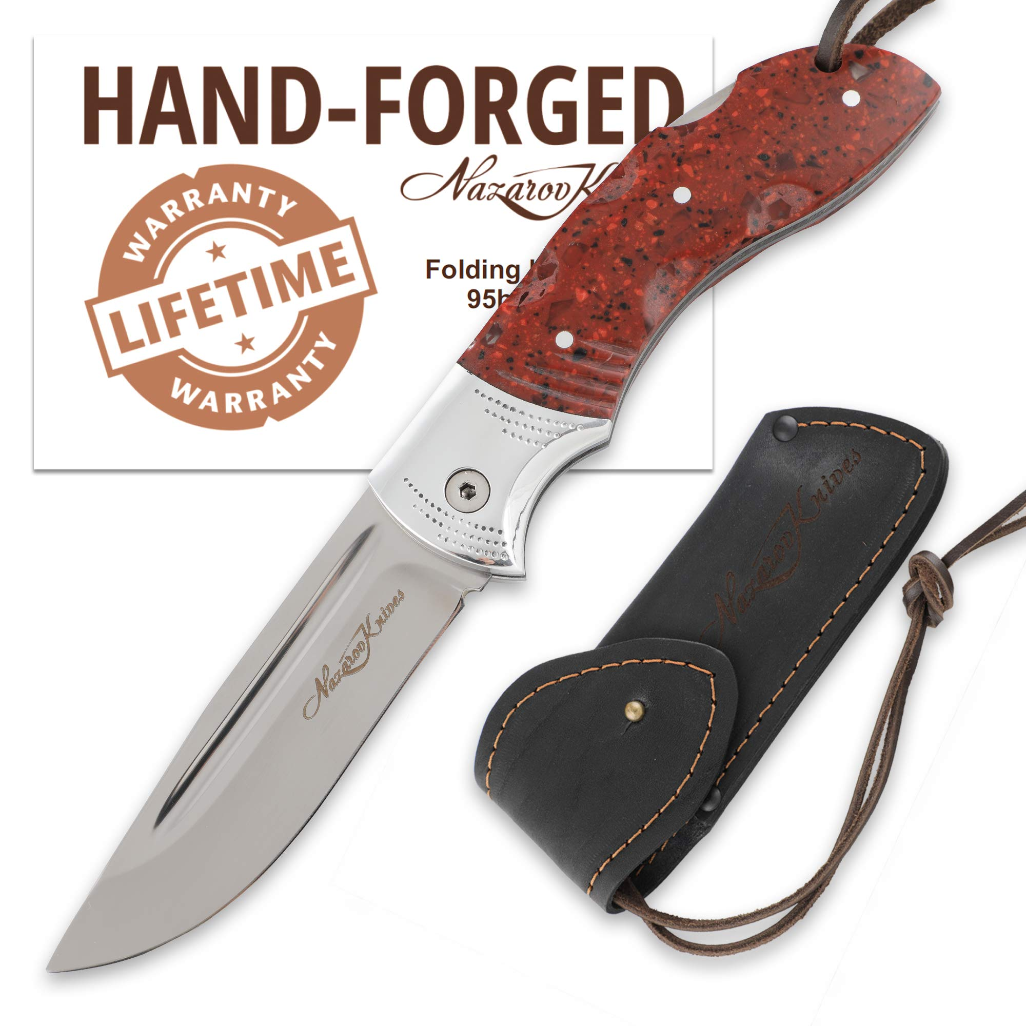 Nazarov Knives Folding Knife – Pocket Knife OWL – Stainless Steel – Acrylic Handle – Durable Leather Sheath