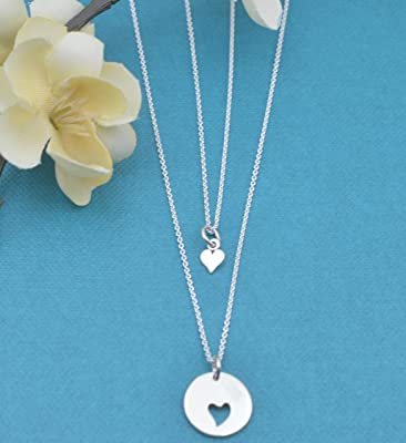 Mother Daughter Necklace Set in Sterling Silver on a 16 & 18