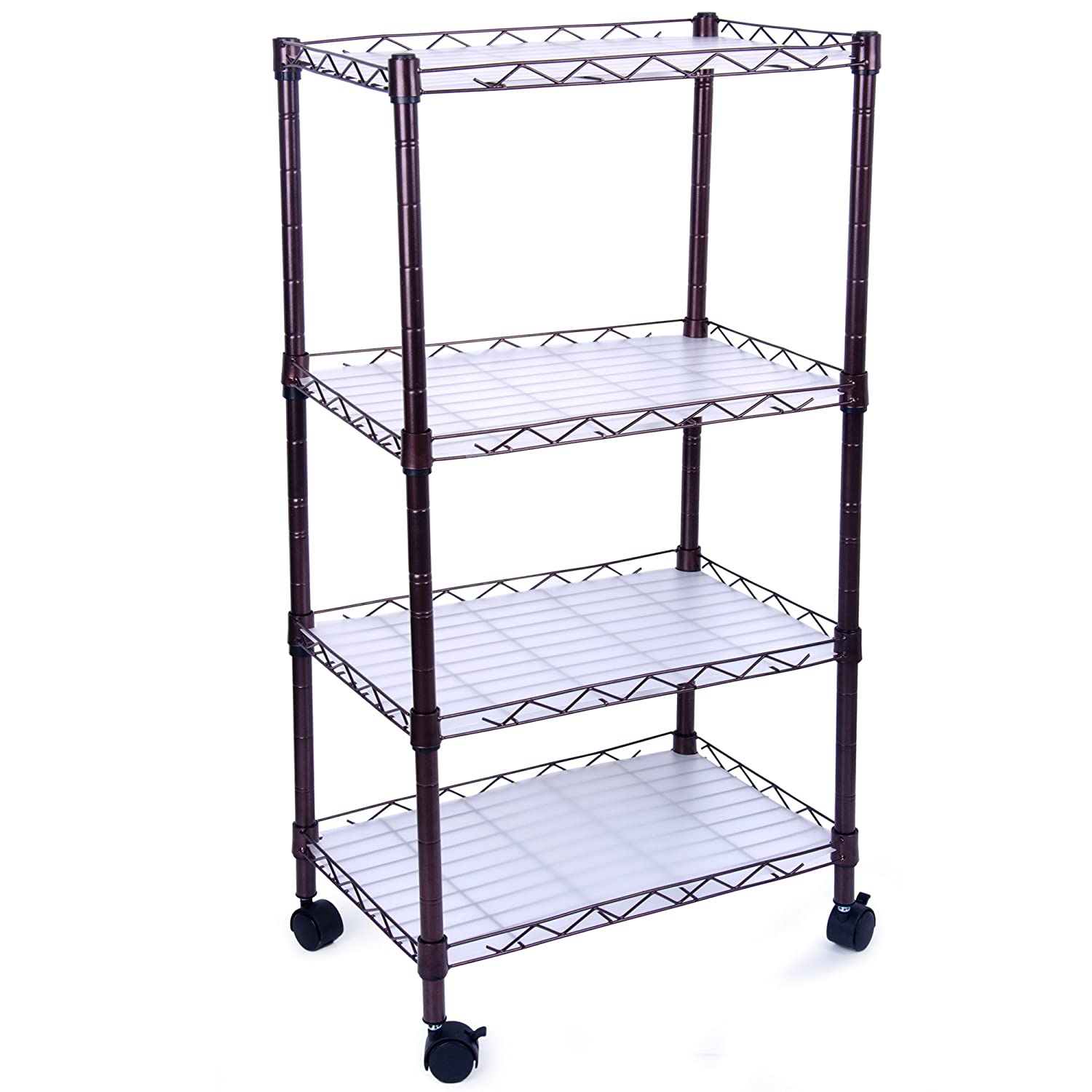 Amazon.com: 5 Tiers Adjustable Wire Metal Shelving Rack with Casters ...