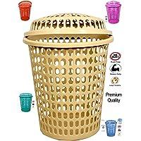 (1 Pcs) Laundry Basket with Lid 50 Litre Plastic, Durable (Unbreakable) 50L with 6 Months Warranty