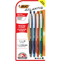 BIC Atlantis Original Retractable Ballpoint Pen Medium Point (1.0 mm) - Assorted Colours, Pack of 4 Pens
