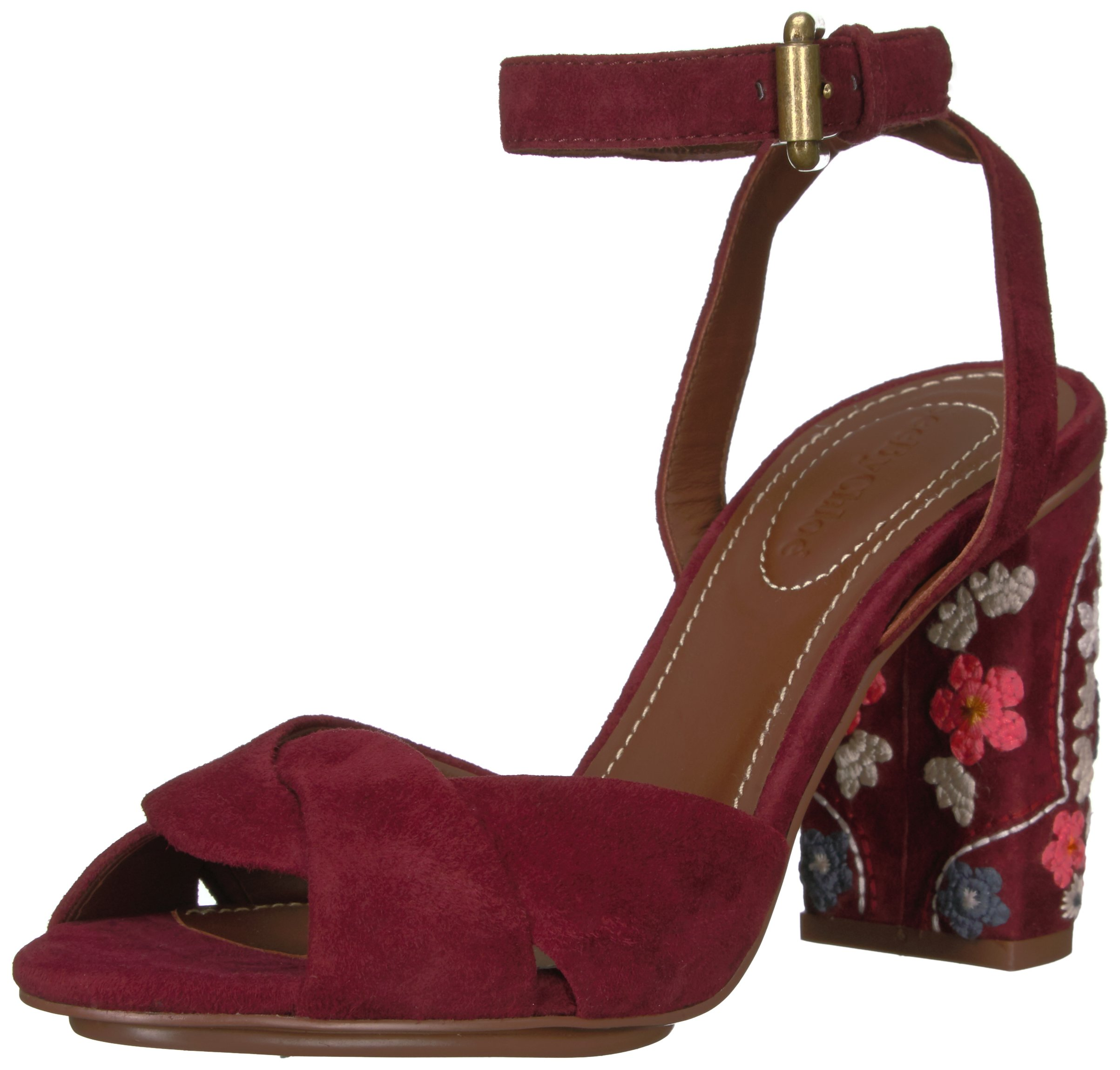 See By Chloe Women's Galya Heeled Sandal, Merlot, 38 M EU (8 US)