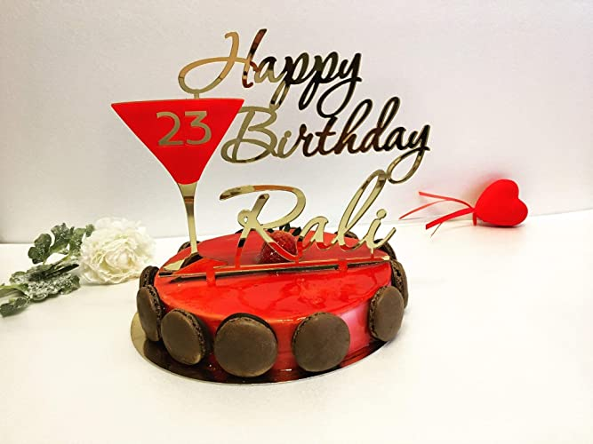 Happy Birthday 23rd Cake Topper Unique Personalised Toppers Any Name Age Custom Red Martini Glass Champagne Decorations Customized Party Favors Supplies