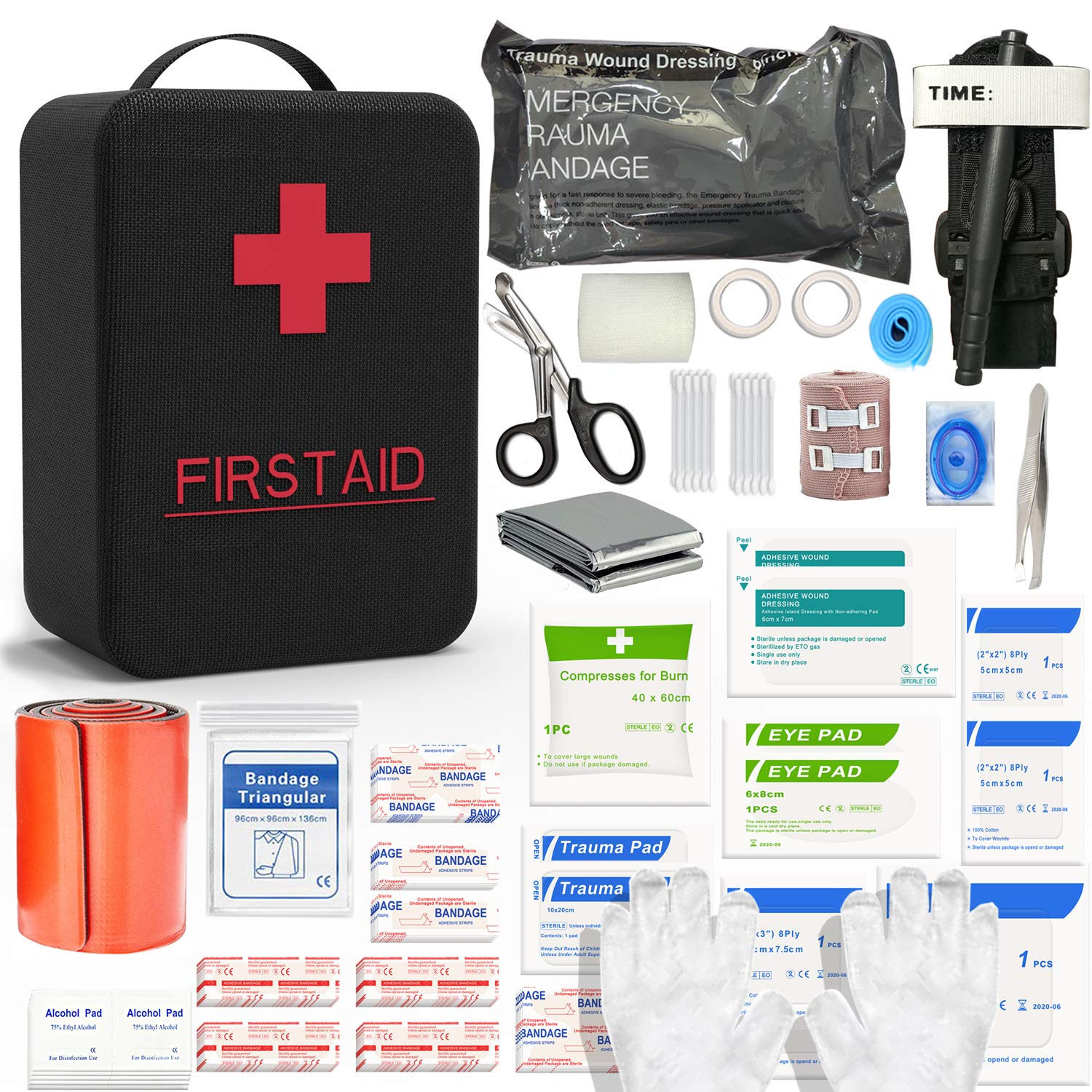 SHBC First Aid Survival Kit 26 Items Outdoor Gear Emergency Kits with 36 Inch Splint, CAT Tourniquet,Israeli Bandage for Camping Boat Hunting Hiking Adventures Sports Car Wilderness and Earthquake by SHBC