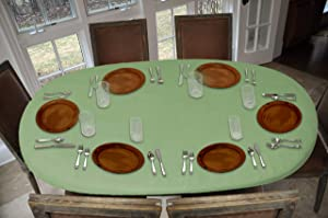 Covers For The Home Deluxe Elastic Edged Flannel Backed Vinyl Fitted Table Cover - Basketweave (Green) Pattern - Oblong/Oval - Fits Tables up to 48