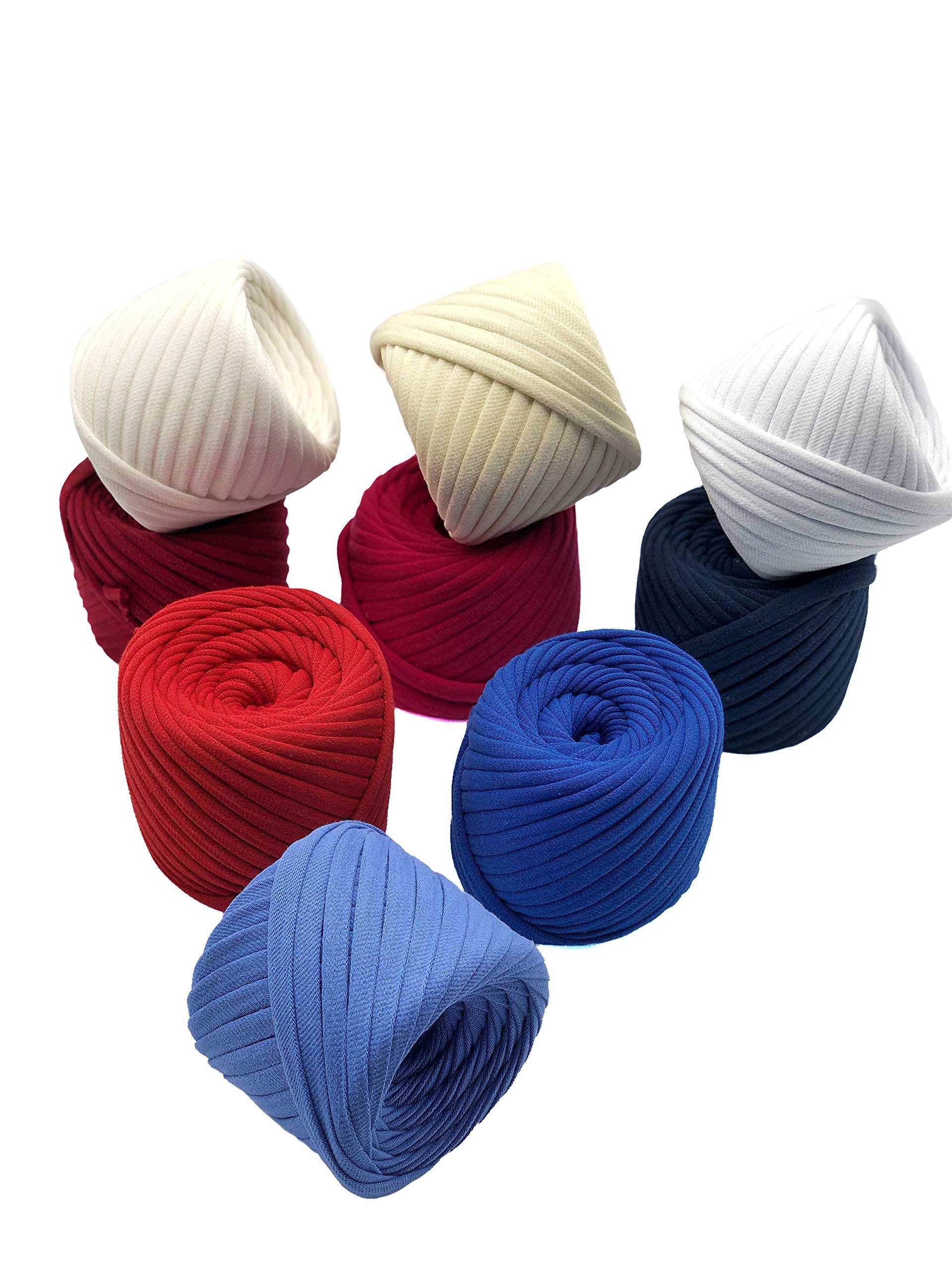 T-Shirt Yarn Fettuccini Zpagetti Set - 9 Balls Total of 196 Yards - Tshirt Yarn Kit for Crocheting - Ribbon Yarn 100% Cotton - Knitting Yarn Ball - T Yarn Organic - T-Yarn American Set