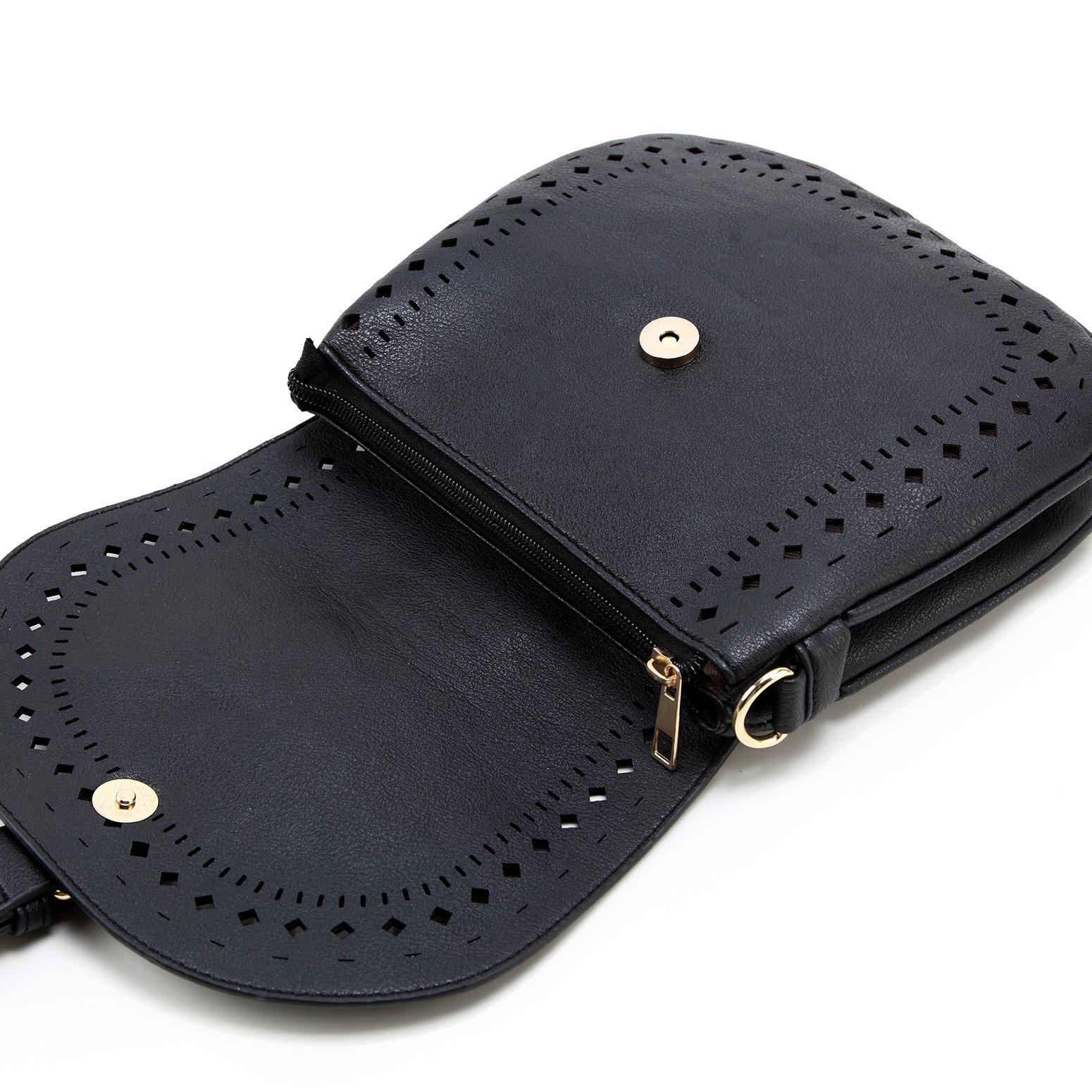 Forestfish Ladie's PU Leather Vintage Hollow Bag Crossbdy Bag Shoulder Bag (Black) by Forestfish (Image #6)
