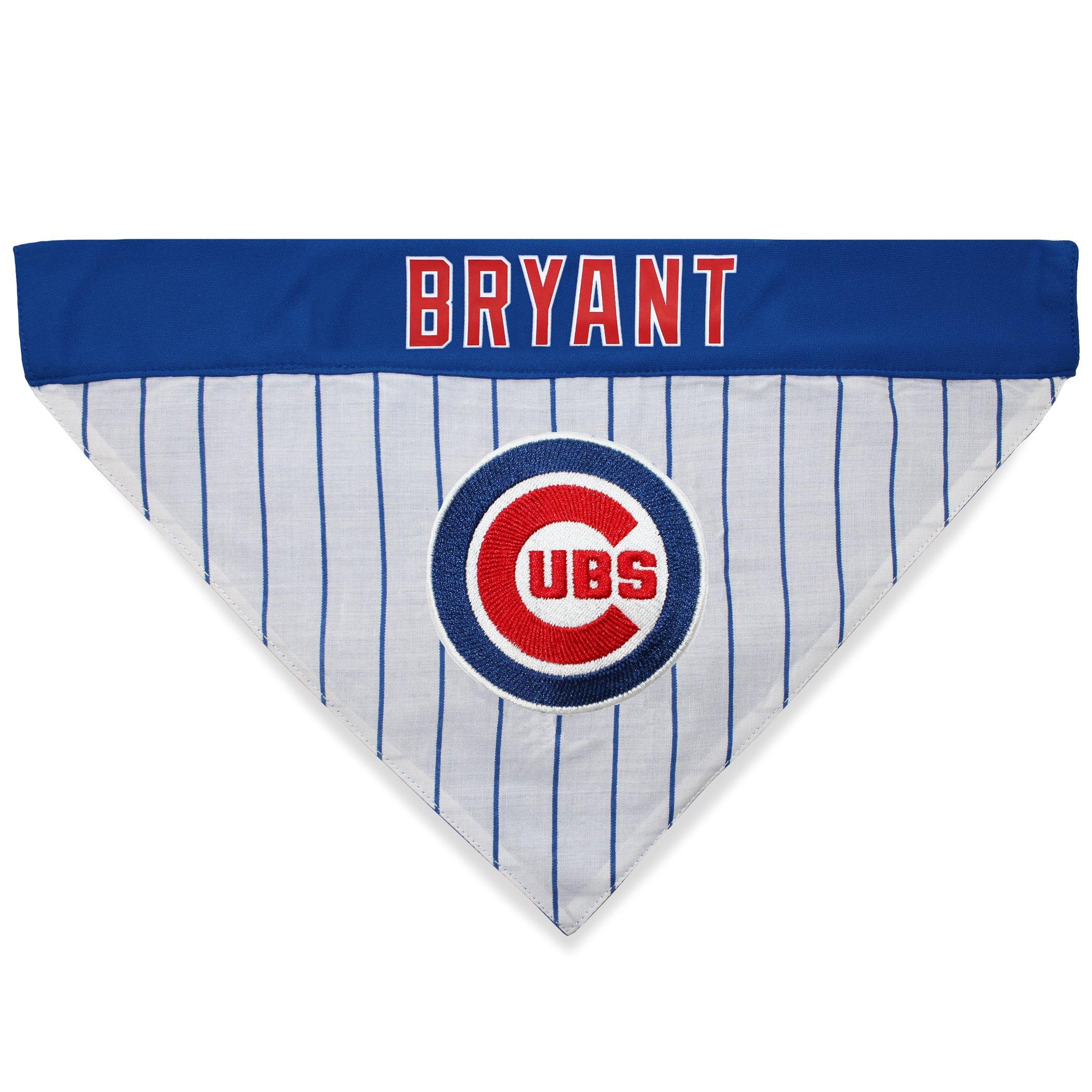 MLBPA Reversible Dog Bandana - Kris Bryant #17 Pet Bandana - MLB Chicago Cubs Home & Away Bandanna, Large/X-Large