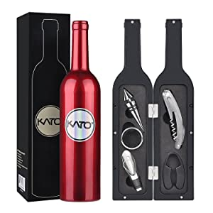Kato Wine Accessories Gift Set - Wine Bottle Corkscrew Opener Kit, Drip Ring, Foil Cutter and Wine Pourer and Stopper in Novelty Bottle-Shaped Case for Christmas Gift, Red