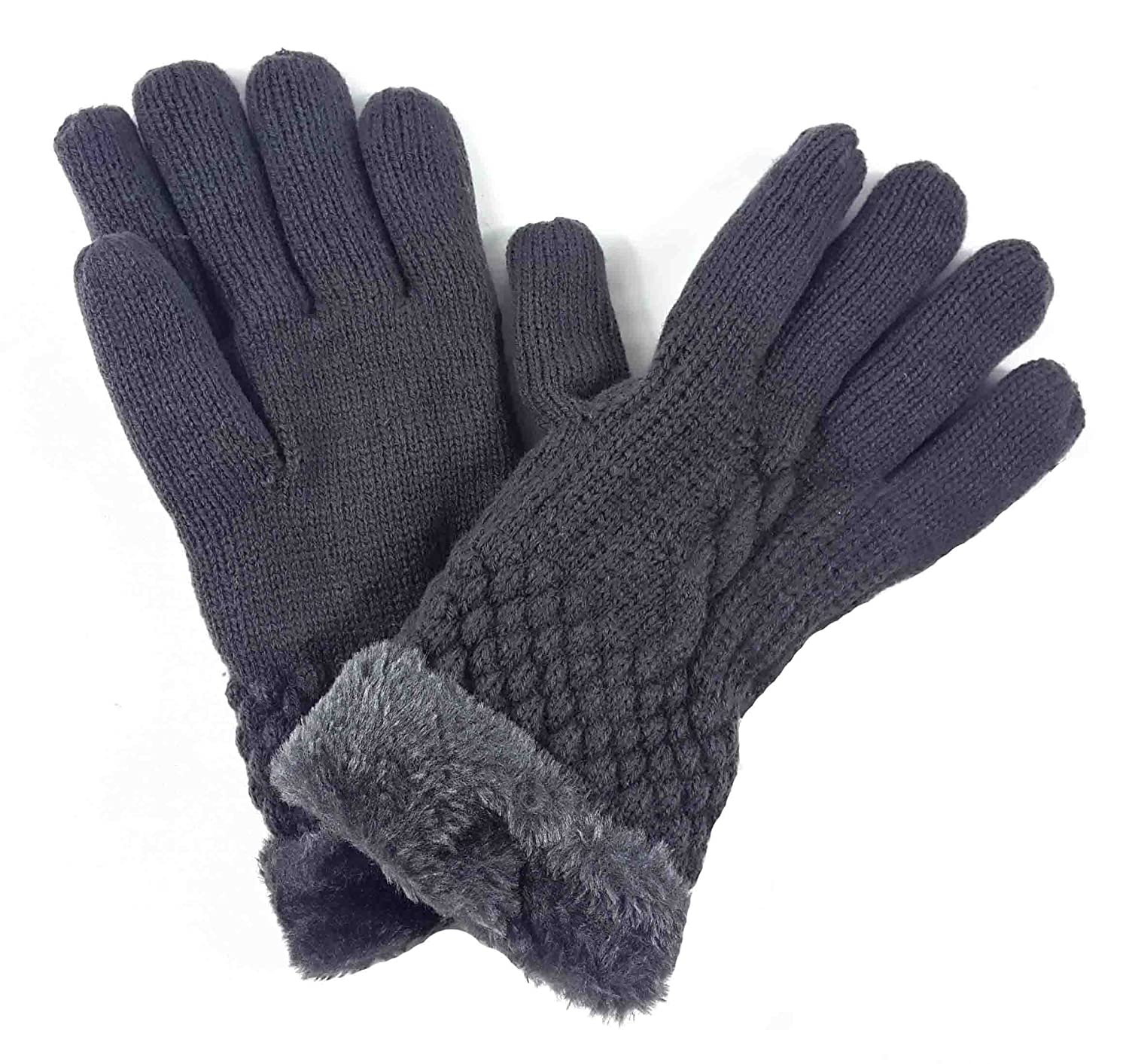 Lina /& Lily Fashion Womens Winter Knitted Warm Gloves Faux Fur Trim Purple