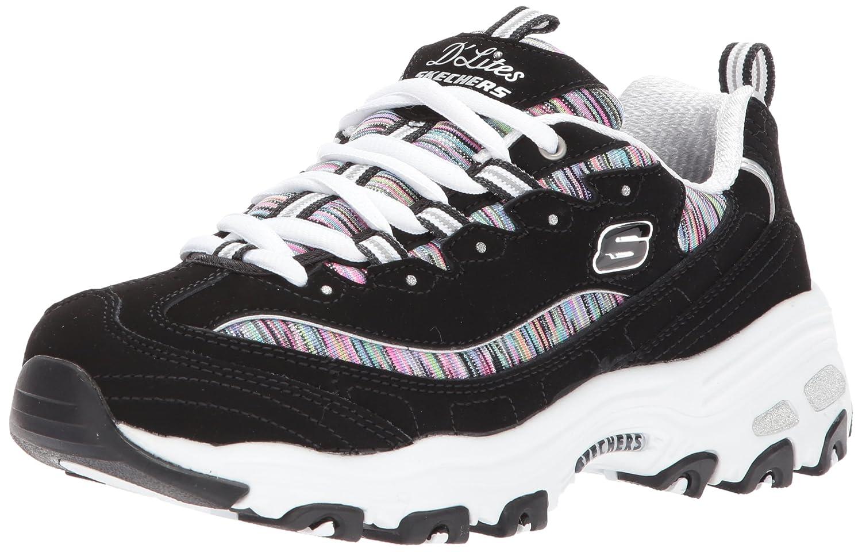 Black  Multi  White  Silver Skechers Womens D'Lites - Interlude Sneakers