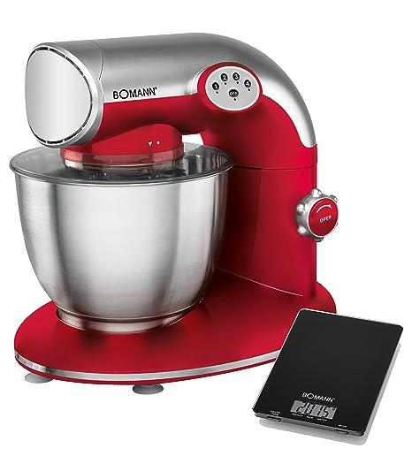 Bomann KM 305 CB - Batidora amasadora, 5.6 l, 5 velocidades, 1200 W + báscula de cocina, color roja