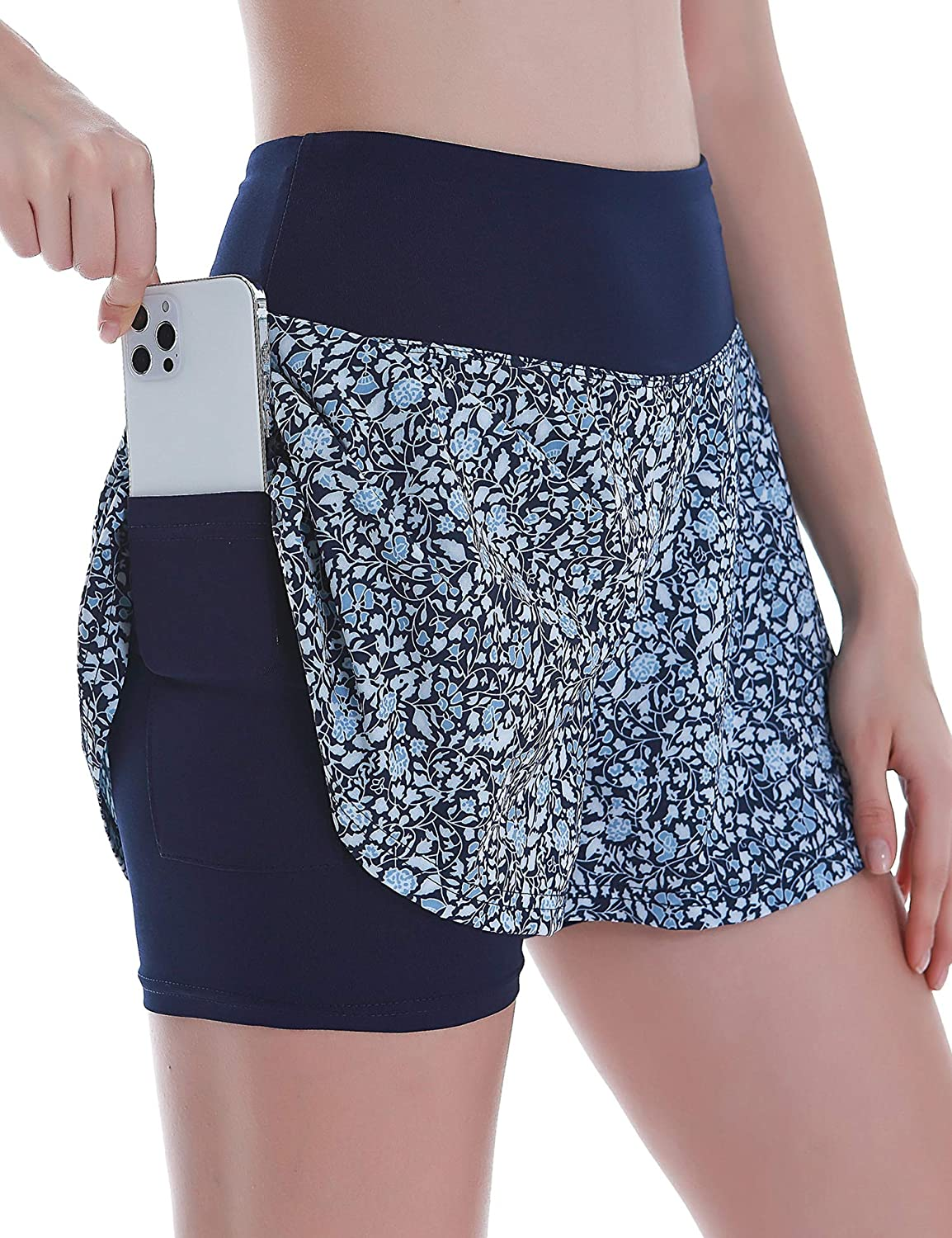 COOrun Womens 2 in 1 Running Shorts Quick-Dry Workout Yoga Sports Shorts with Phone Pockets