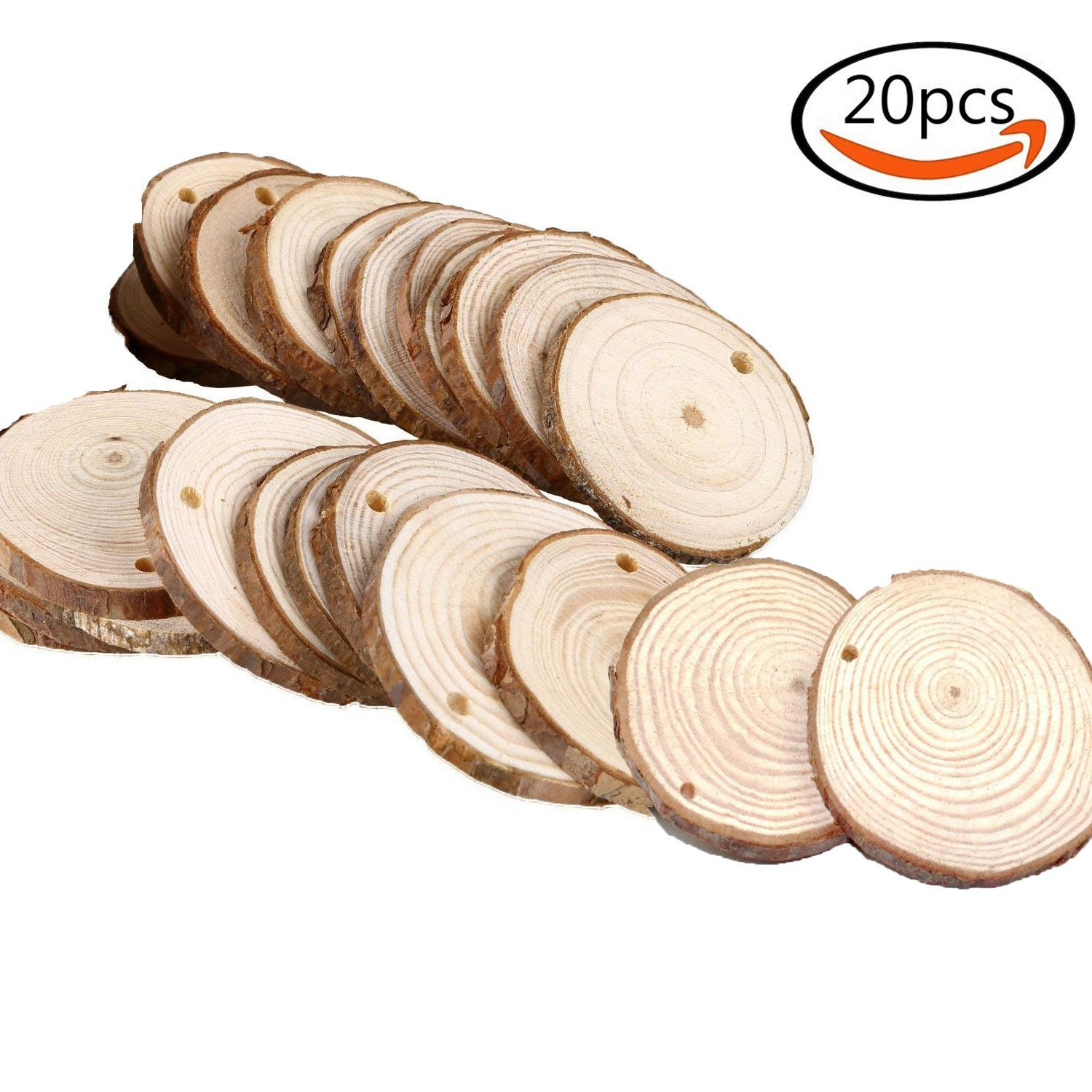 20Pcs Natural Round Wood Slices for DIY Crafting Coasters Arts Crafts Home Decorations Event Ornaments with 2 different Size Twshiny