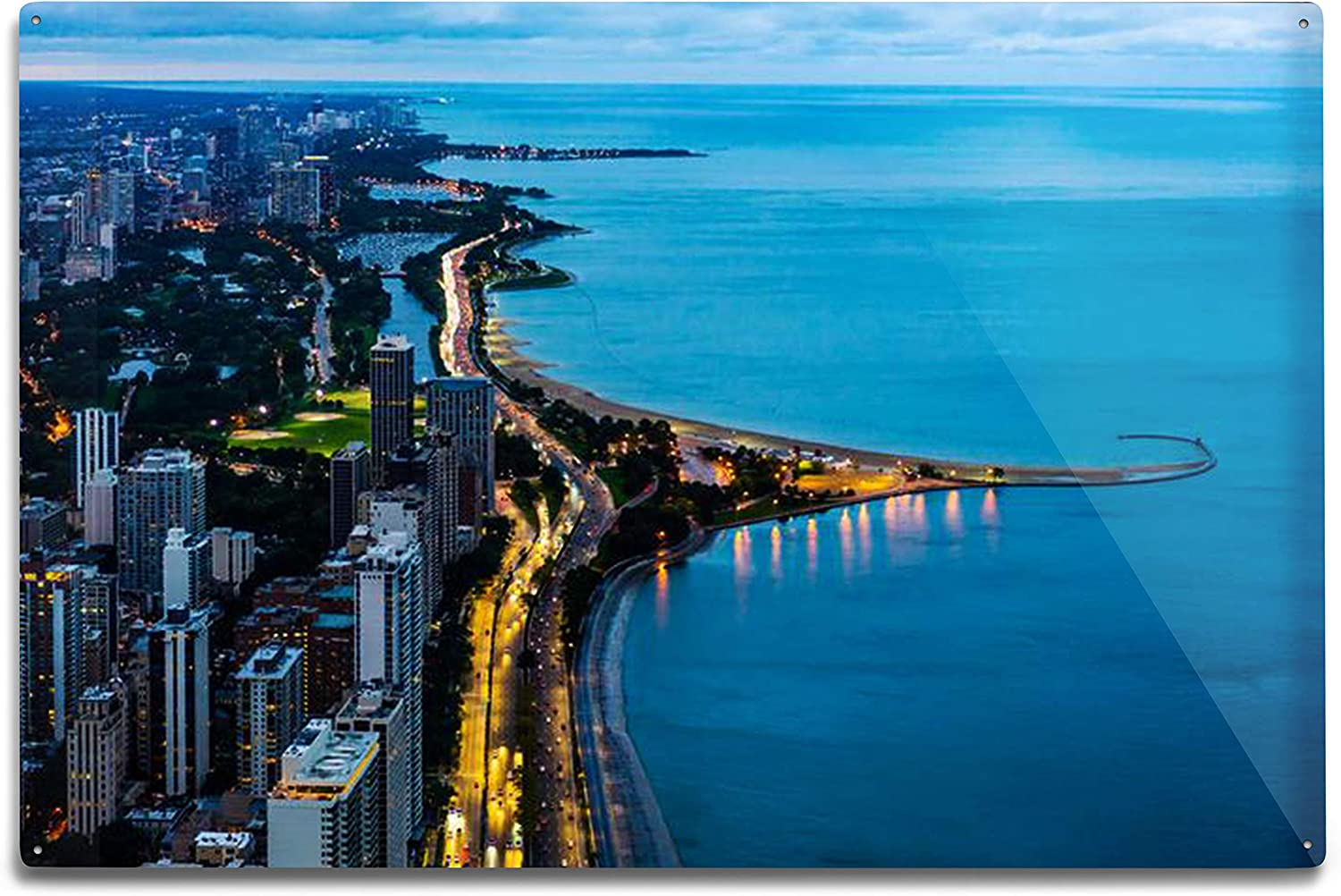 Lantern Press Chicago, Illinois - Aerial View of The City Skyline & Lake Michigan at Night 9024169 (6x9 Aluminum Wall Sign, Wall Decor Ready to Hang)