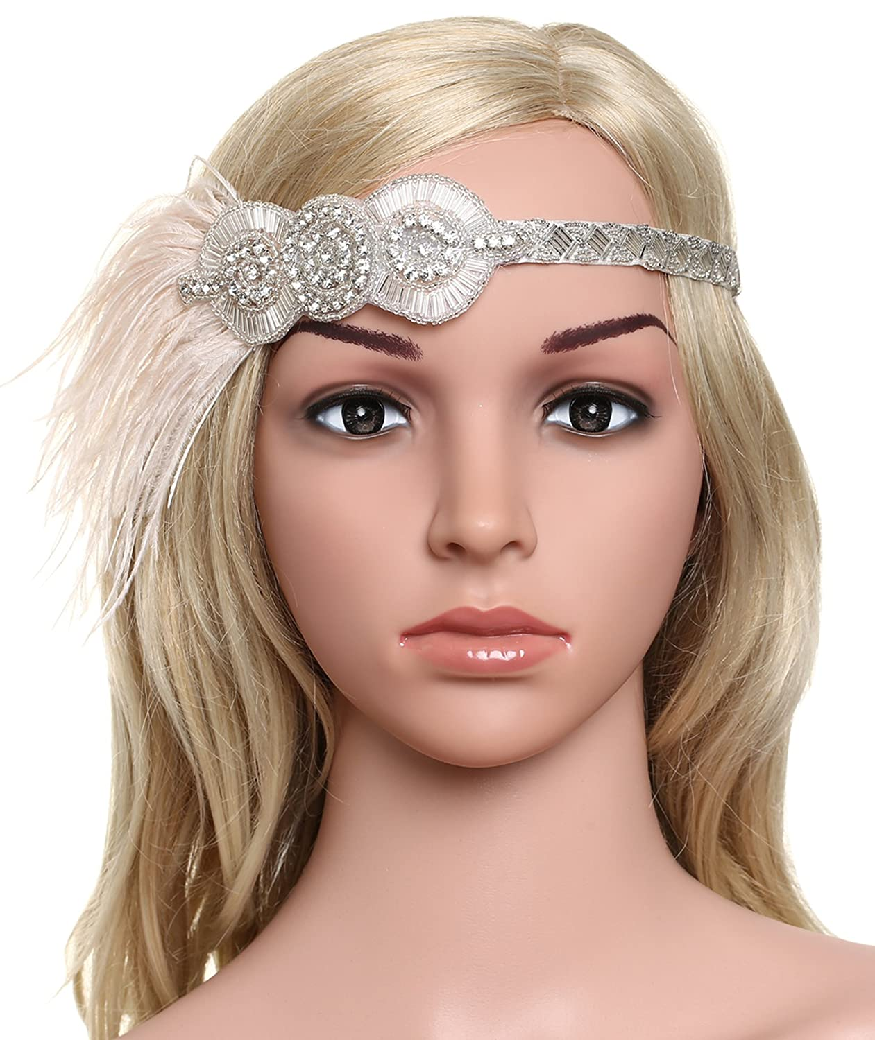 BABEYOND Women's Flapper Hair Band 1920 Headpiece Feather Hair Accessories Vintage Inspired Stunning Crystal Design (Baby pink)