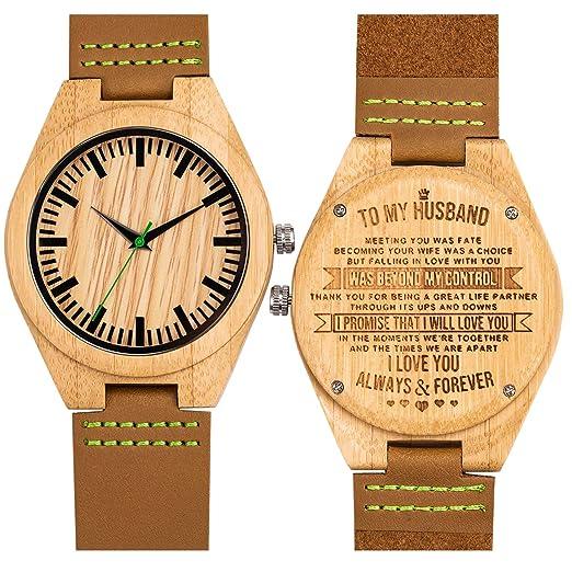 Grabado Reloj de Pulsera Bambú Relojes Madera Analógico de Cuarzo para Hombre Correa de Cuero(To my Husband): Amazon.es: Relojes