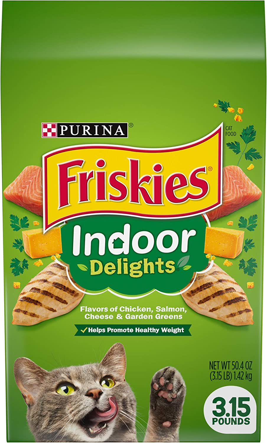 Purina Friskies Indoor Dry Cat Food, Indoor Delights - 3.15 lb. Bags (Pack of 4)