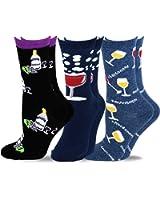 TeeHee Women's Foods Crew Socks 3-Pack