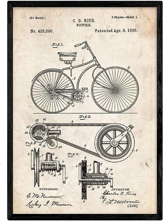 Nacnic Poster con Patente de Bicicleta. Lámina con diseño de ...