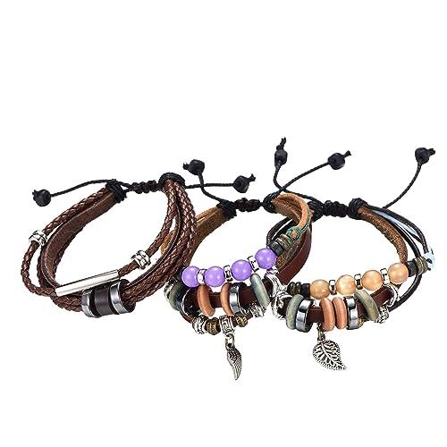 7d098f0997a6 Morella set de 3 pulseras de cuero con colgantes y adornos para ...