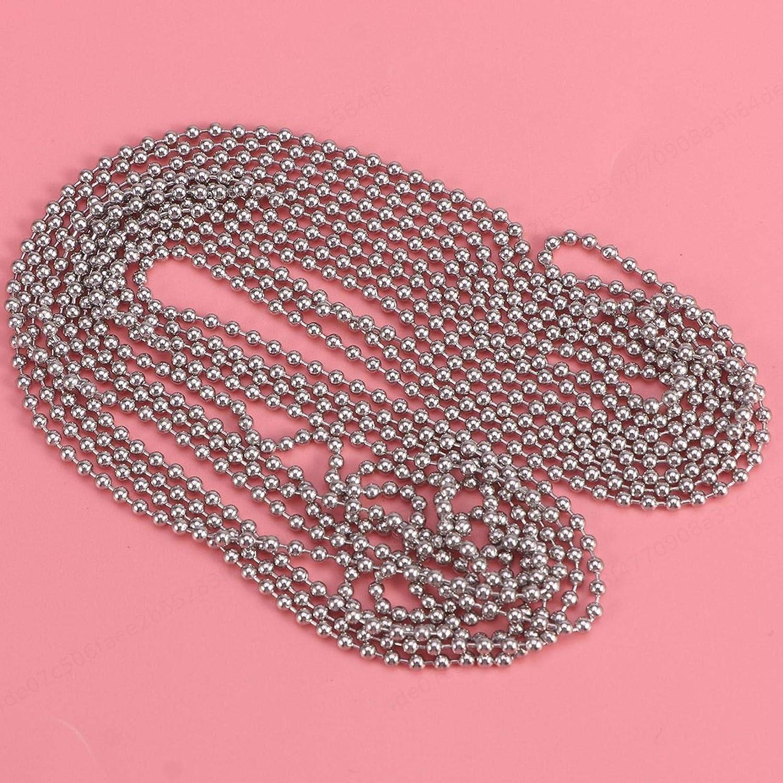 Silber ALONGB 3 Meter Rollo Kette Perlen Zugkette 3,2 mm Durchmesser Verl/ängerung mit 10 passenden Stecker