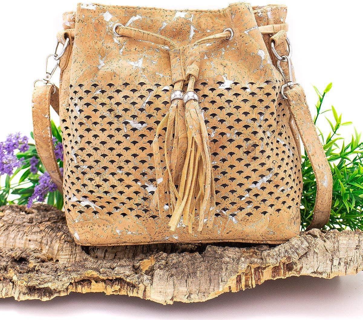 Borsa secchiello in sughero donna borse in sughero vegan BAG-299-BD Argento