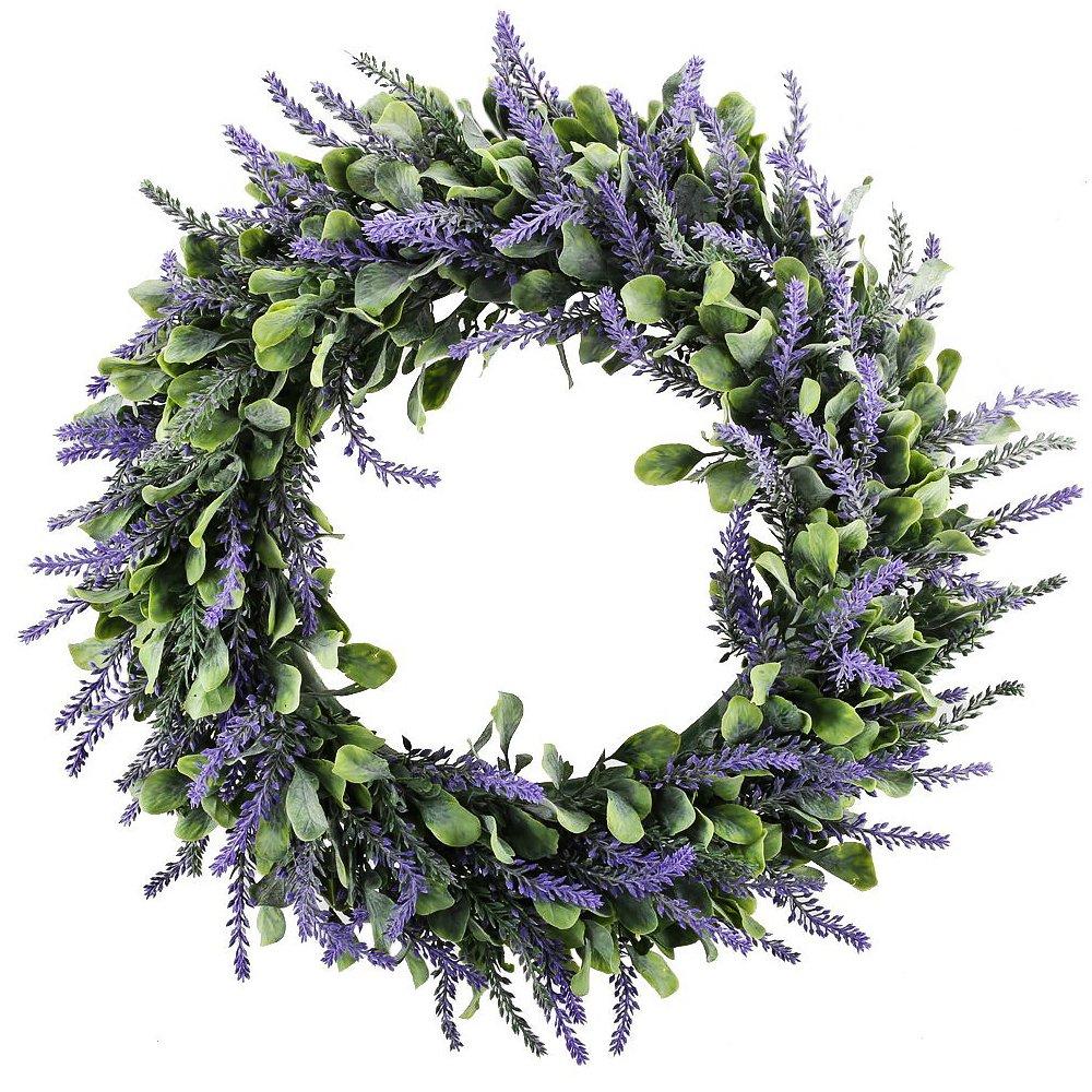 Evoio Artificial Lavender, 17'' Wreath DIY Silk Flowers Garland Pendant for Front Door Wall Home Wedding Decoration- purple