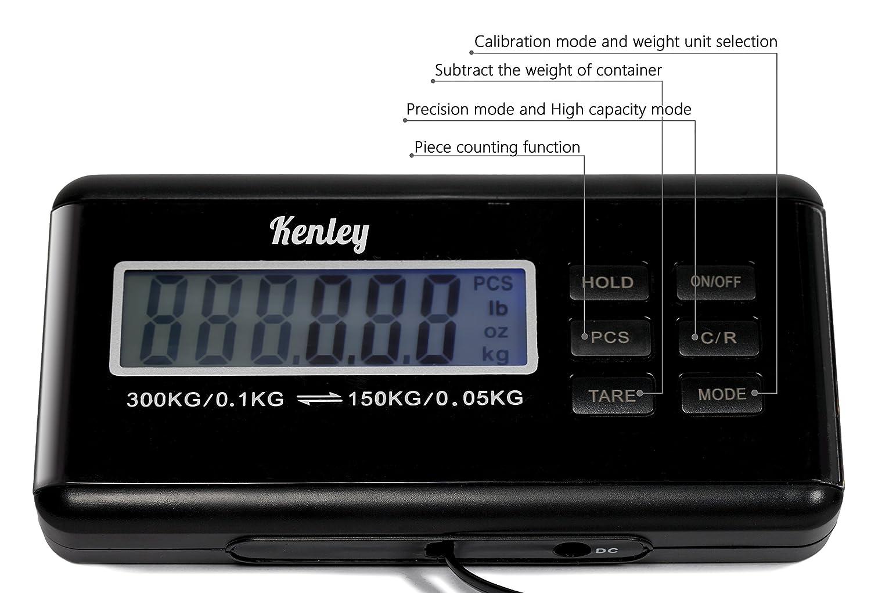 Kenley Balanza Digital Báscula de Plataforma 150kg / 300kg - para Paquete Envíos Postal - Balanza Industrial Comercial Profesional - Baterías y Cable ...