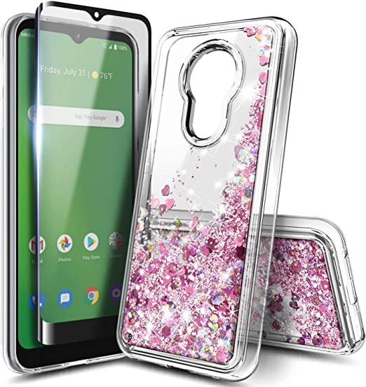 Clear TPU Phone Case Cricket Ovation AT/&T Radiant Max U705AA,Golden Geometric Print,Light Weight,Flexible,Soft Touch Cover,Anti-Scratch