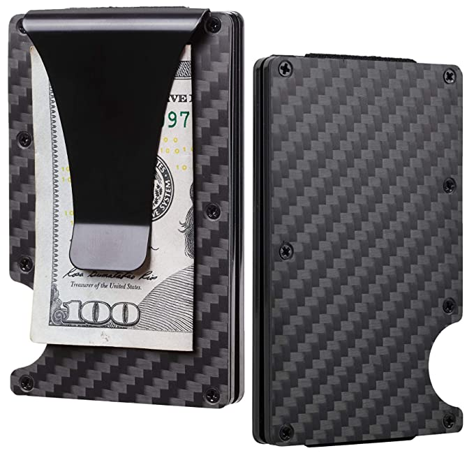 eb4d8243a0a BSWolf Aluminum Slim Minimalist Front Pocket Wallet Credit Card Case Holder RFID  Blocking (01 carbon
