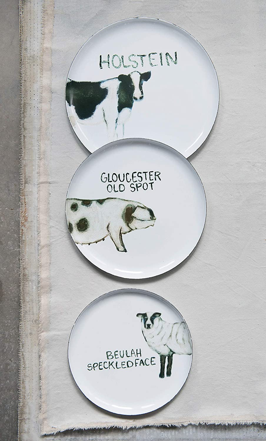 Set of 3 Sizes//Designs Creative Co-Op Round Tin Trays with Farm Animal Images