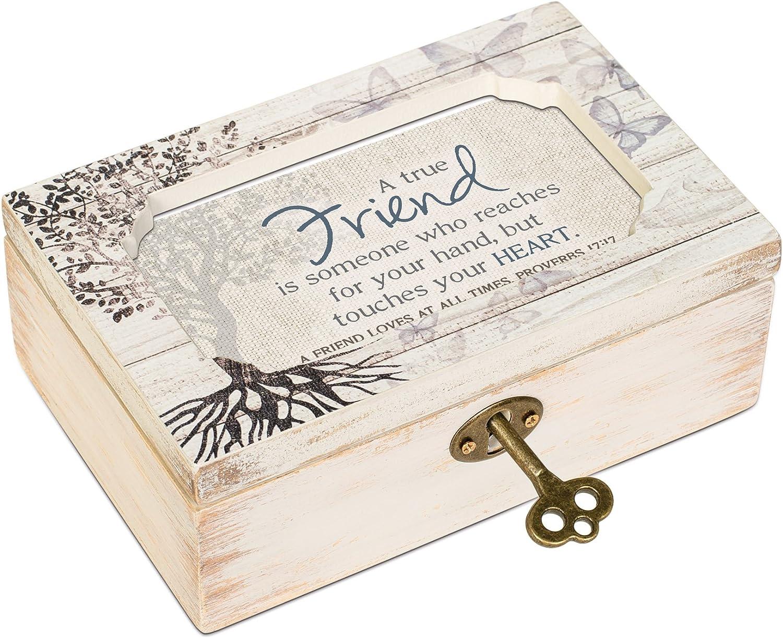 Cottage Garden True Friend Reaches for Your Hand Deco Whitewash Jewelry Music Box Plays Friend in Jesus