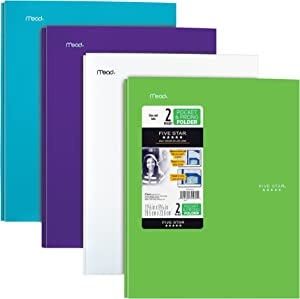"""Five Star 2-Pocket Folder, Stay-Put Folder, Plastic Colored Folders with Pockets & Prong Fasteners for 3-Ring Binders, For Home School Supplies & Home Office, 11"""" x 8-1/2"""", Assorted, 4 Pack (38064)"""