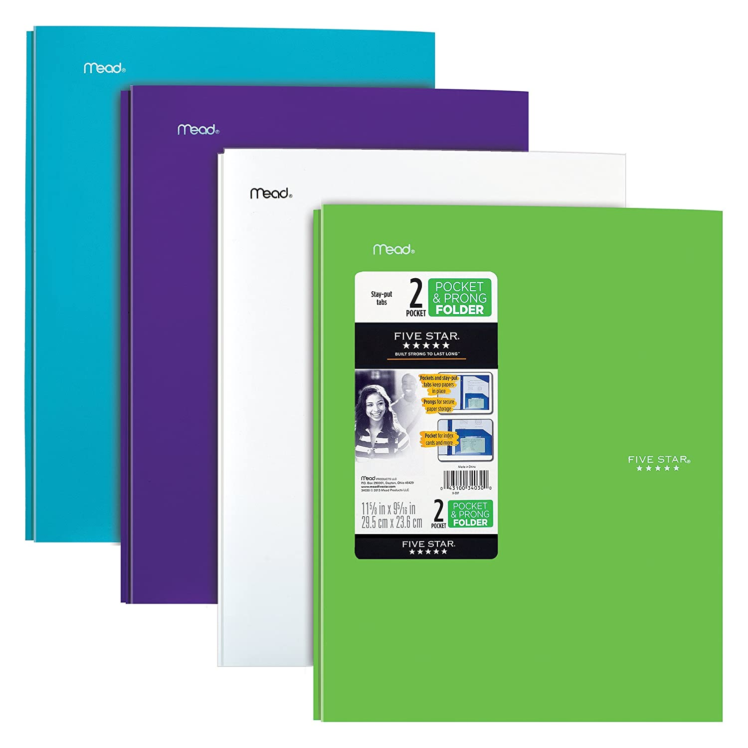 Five Star 2-Pocket Folders with Prong Fasteners, Stay-Put Folder, Folders with Pockets, Trend Colors, 4 Pack (38064)