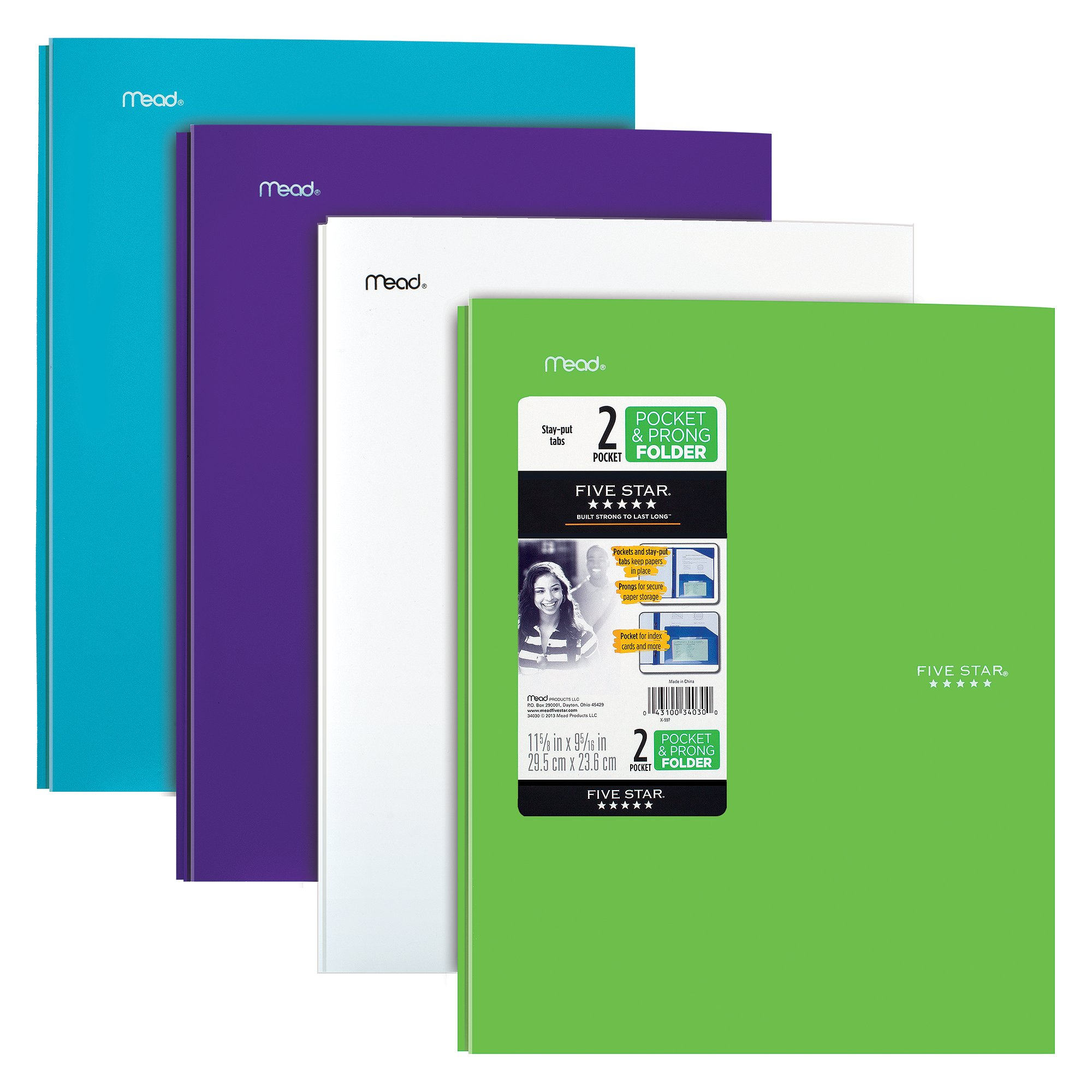 Five Star 2 Pocket Folders with Prong Fasteners, Stay-Put Folder, Folders with Pockets, Plastic, Teal, White, Purple, Lime, 4 Pack (38064) by Five Star
