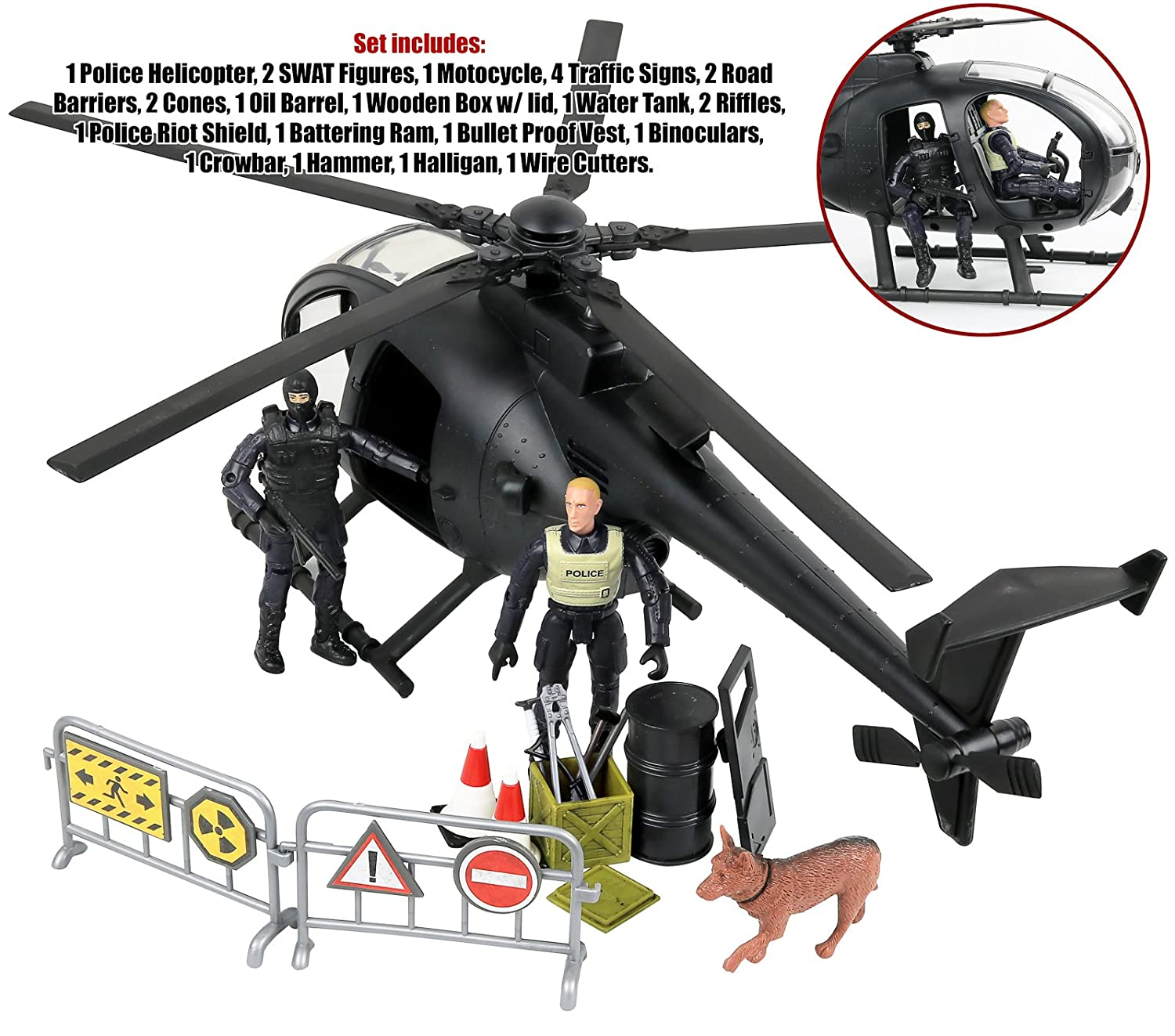 Click N/' Play Military SWAT Elite Unit Rescue Helicopter 26 Piece Play Set with Accessories Click N/' Play CNP1334