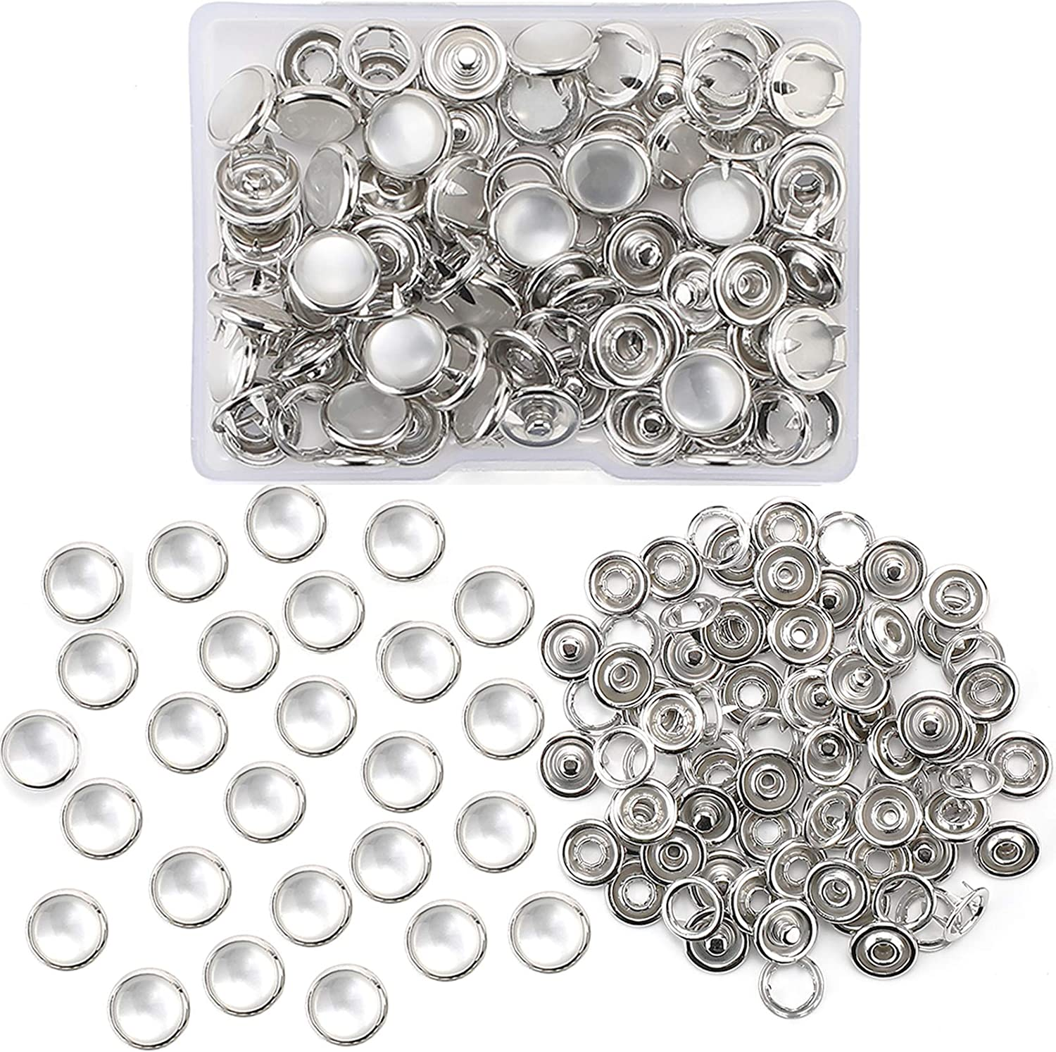 Pearl Snaps Fasteners Kit, 10mm Clothes Ring for Western Shirts Clothes Prong Ring Snaps