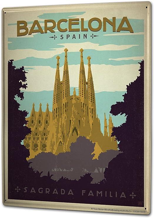 LEotiE SINCE 2004 Cartel Letrero de Chapa XXL Viaje Cocina España Barcelona Sagrada Familia: Amazon.es: Hogar