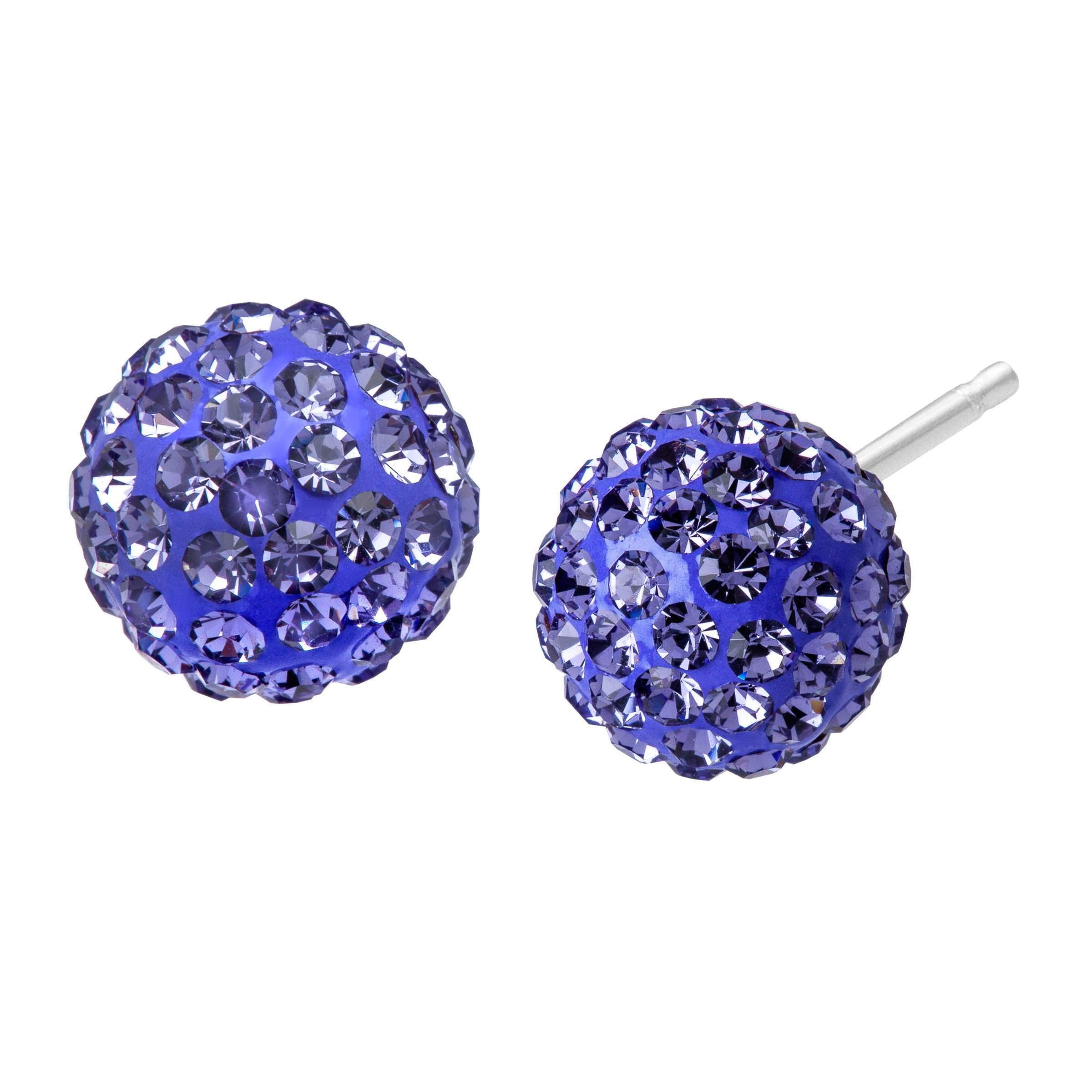 Glitter Ball Stud Earrings with Lavender Swarovski Crystal in Sterling Silver